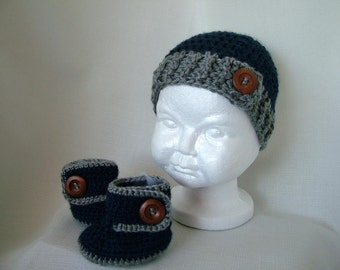Baby Boy Crochet Hat with Ugg Boots