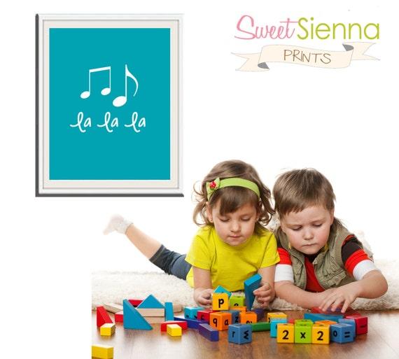 Nursery Art Prints, Kids Wall Art, Baby Boy/ Girl Nursery Decor, Baby Boy and Girl Gift, baby nursery art, Nursery print - LaLaLa, 5x7 PDF