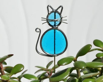 Stained Glass Ocean Blue Cat Plant Stake, Cat Garden Art