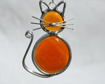 Stained Glass Amber Cat Ornament, Suncatcher