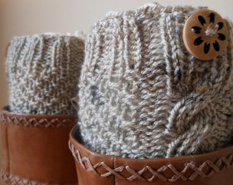 Hand Knitted Boot Cuffs Leg Warmers Beige with Buttons