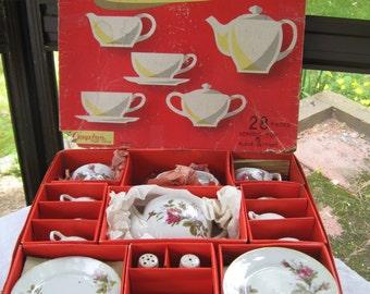 China Toy Tea Set 1950 Rose Porcelain Japan Cragstan Service for 6 in Box 1950