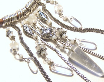 Crystal Quartz Drops Leather Necklace Bohemian Tribal Jewelry