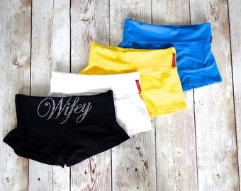 Yoga Bride Shorts. Rhinestone Wedding Shorts. Honeymoon. Lingerie Booty Short Panties. Wifey Shorts