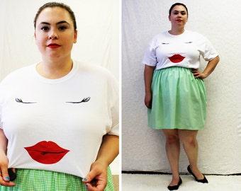 PLUS SIZE - Lips & Lashes Design T-Shirt by Curvy Elle  (Size S-3X)