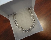 Mens Silver Figaro Chunky Chain Necklace 925 Sterling Silver Mens 22 Inch Thick Bold Heavy Birthday Gift 11mm