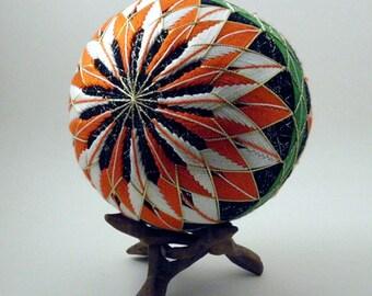"Japanese Temari Ball - Ya-guruma (Wheel), Design (4 13/16"")"