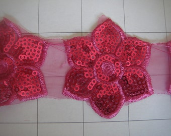 "1 3/4"" Fuschia Flower Applique Trim By the Yard"