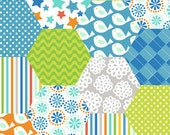 Blend Fabrics Alfie and Bettie Baby Blocks Blue - 1 Yard
