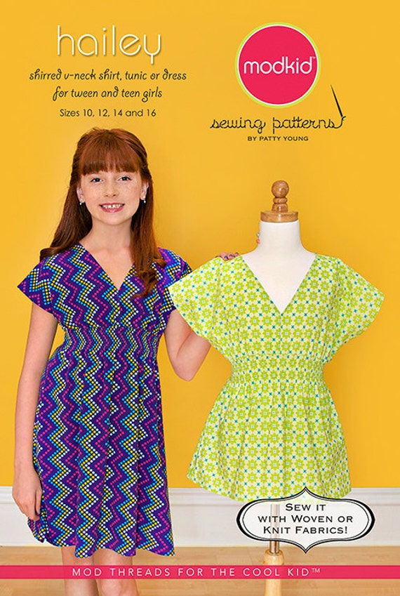 Modkid Hailey Sewing Pattern by Patty Young - Shirred V-Neck Shirt, Tunic or Dress for Tween and Teen girls