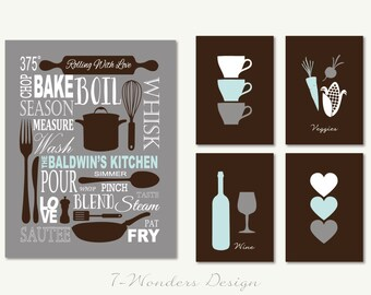 Personalized Kitchen Art Subway Style With Cups And Hearts Prints Set Of 5
