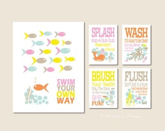 Kids Girls Bathroom Art Prints, Swim Your Own Way, Splash, Wash, Brush, Flush Set of (5) 11x14 and 5x7's Childrens Bathroom Decor - Unframed