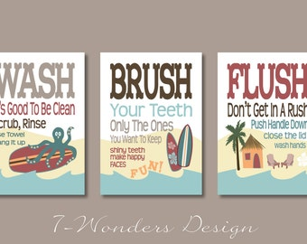 "Childrens Kids Bathroom Art Prints Set of (3) 5"" x 7"" Surf Board Theme - White // Fine Art Home Decor - Unframed"