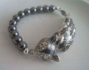 Unique silver tone clear bejeweled fox charm elastic bracelet with grey pearl beads - birthday gift - fox bracelet - fox charm bracelet