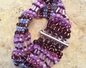 Shades of Purple Herringbone Cuff bracelet
