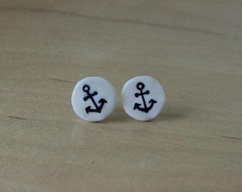 Anchor clay earrings