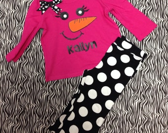 Personalized Girl's Snowman Outfit