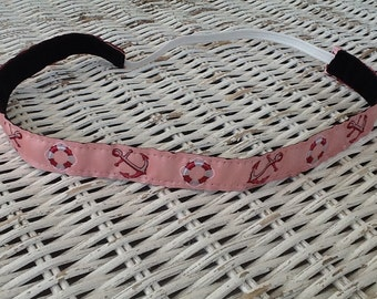 Pink Anchor Headband - Skinny Nautical Headband