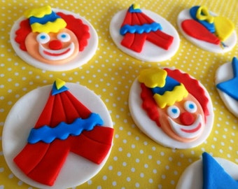 Circus cupcake toppers fondant circus theme fondant clown big top circus tent & Tent fondant toppers | Etsy