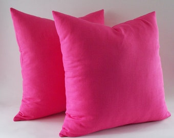 Set of 2 / Fushia Linen Pillow, Cushion Linen Cover, Throw Pillow,Decorative Linen Pillow,Modern Pillow