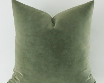 Velvet Cotton Moldy Green Pillow Cover, Decorative Pillow, Throw Mold Green Pillow, All Size