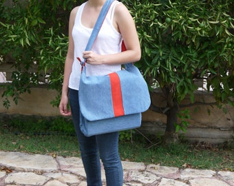 Back to school. Upcycled jeans bag. Boho shoulder bag. Recycled man's jeans decorated with red stripe. Free shipping