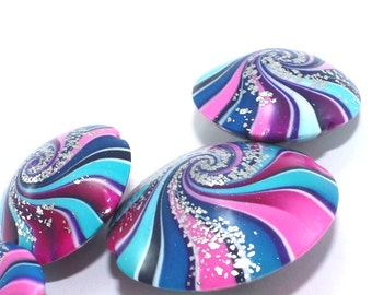 Focal beads in blue, purple and pinks with tiny silver dots, Polymer Clay beads, swirl lentil beads,  Set of 5 unique beads