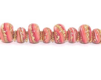 Set of 8 rondelle beads, round pressed stripes beads, Ombre beads for Craft supplies,  Polymer Clay beads in red, orange and gold