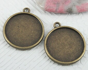 18pcs antiqued bronze color 2sided round cabochon settings EF0736