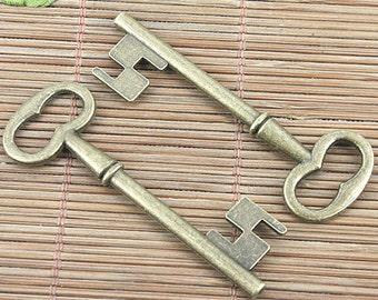 4pcs 56*19mm antique bronze key charm pendants G245