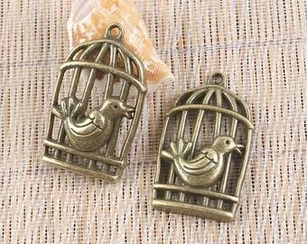 3pcs antiqued bronze bird and bird cage pendant H0006