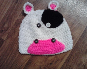 Cow Hat - Crocheted