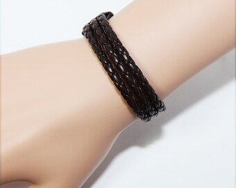 Genuine Leather Cuff Wrap Bracelet Couple Bracelets Leather Braid Wax Cord Layered Cuff - Punk Accessories