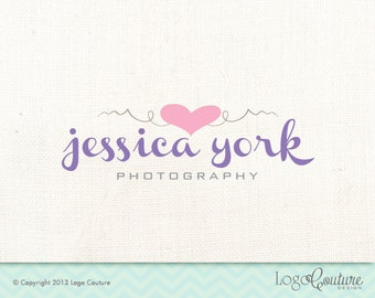 Premade Heart Design Logo - Text Logo - Your Name - Swirl Lines - Photography - Pink Heart - Logo for a Photography Business