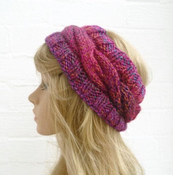 Hand Knit Headband Earwarmer, Cabled Purple Pink Gold Headwrap. Womens Braided Headband, Accessories, Acrylic Knit Hat, Clickclackknits