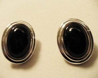 Large Black and Silver Tone Oblong Vintage Napier Screw Back Earrings