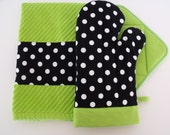 Black & White Polka Dot Lime Green Oven Mitt Pot Holder Set with optional towel