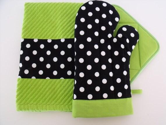 Black & White Polka Dot Lime Green Oven Mitt Pot Holder Set with optional towel