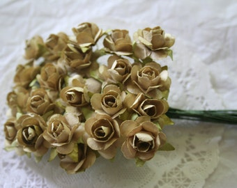 24 Champagne Millinery Paper Flowers