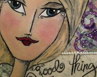 Mixed Media Girl with Blue Eyes Purple Flowers White Accents Ceville Designs