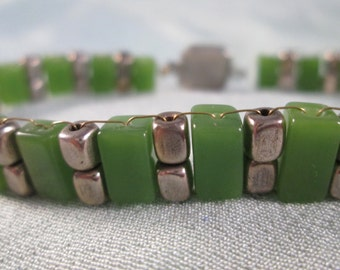 Chrome & jade Egyptian/Deco inspired handwired bracelet with vintage rhodium clasp
