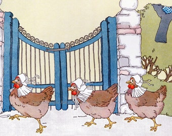 Chickens Fabric Block - Three Hens in Bonnets - Petersham Cotton Fabric Block