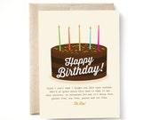 Cake free birthday card, funny birthday card, gluten, dairy, soy, nut, calorie and saturated fat free