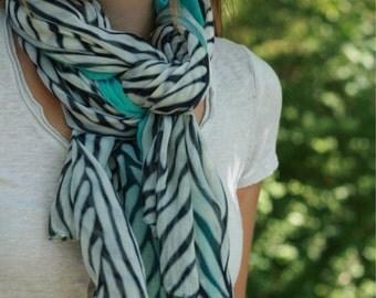 Teal chevron scarf
