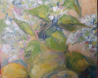 White Lilacs in a Vase and Lemons - An original oil painting