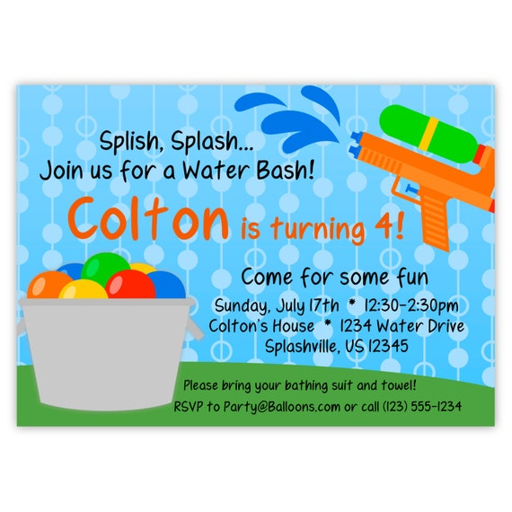 Water Party Invitation Blue Polka Dot Sky By PurpleBerryInk