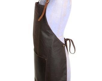Traditional leather and waxed canvas apron - solid brass buckle on neck strap, tie-leather waist straps, leather pocket, fully lined