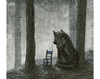 Wolf and chair Fine Art Giclee Print
