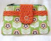 Change Purse Card Wallet Small Zippered Coin Pouch Green Orange Flowers 4x3.5