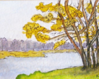 Delaware River #1 (Tow Path) ACEO Lumberville Pennsylvania Painting Artwork Gouache with Watercolor Pen and Ink Kathleen Daughan Artist